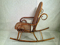 Vintage Childs Rattan and Bamboo Bentwood Chair Rocker