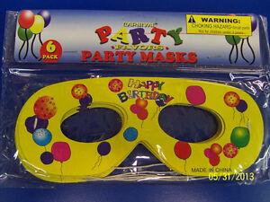 Happy Birthday Carnival Party Favor Masquerade Paper Eye Masks - Yellow Balloons