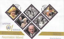 Ascension Island 2012 FDC Lifetime of Service 6v Set Cover Queen Elizabeth II