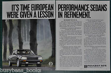 1987 PEUGEOT 505 2-page advertisement, Peugeot 505 STX sedan