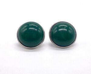 16 mm Round Green Resin Stainless Steel Clip-On Earrings New