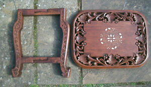 SUPERB ANGLO/INDIAN  FOLDING  INLAID WOODEN SIDE TABLE