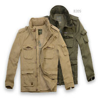 New mens Cotton Casual Army Military Twill Jacket zip up hunting safari desert