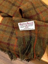 Harris Tweed Wool Scarf Khaki Rust Burgundy Orange Forest Red Black Green