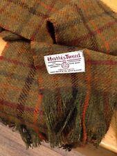 Harris Tweed Wool Scarf Khaki Rust Burgundy Orange Forest Green Red Black Gift