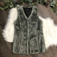 NWOT ASOS Womens Faux Fur Vest Size 6 Small S Gray Black Heather Mid Length
