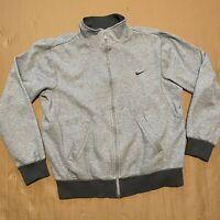 Men's Grey Y2K NIKE Swoosh Zip Up Sweatshirt Jacket Size M