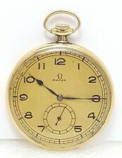 Vintage Rare Omega 14K Solid Yellow Gold Pocket Watch 15J Caliber 35,5L.T1 48mm