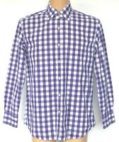 """Mens Boden Shirt Purple & White Gingham Check L/Sleeve 16"""" Large Pit to Pit 23"""""""