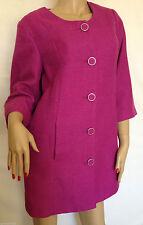 Women's Linen No Pattern Button Knee Length Coats & Jackets