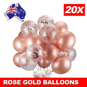 20pcs Rose Gold Confetti Balloons For Birthday Marriage Party Decoration AU GIFT