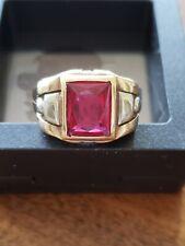 Men's Vintage Red Stone Ring 10K YG 1940 Size 10