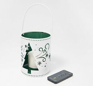 Luminara Indoor/Outdoor Holiday Pail with Flameless Votive & Remote - Tree