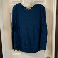 Loft Women's Blue Scoop Neck Long Sleeve Blouse size L