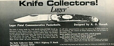 1974 small Print Ad of AG Russell Luger Pistol Commemorative Pocket Knife