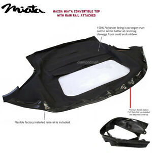 Mazda Miata Convertible Top & Attached (Pre-Installed) Rain Rail BLACK Cabrio PC