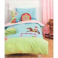 LINEN HOUSE Jinx PONY CLUB Blue Green Applique Horse SINGLE Quilt Cover Set