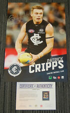 PATRICK CRIPPS CARLTON BLUES HAND SIGNED AFL VERTIRAMIC LIMITED OFFICIAL PRINT