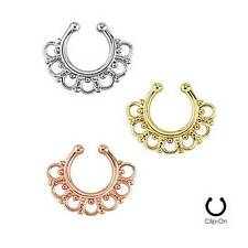 LOT of 3 Fake Septum Clicker Clip On Non Piercing Nose Ring Cartilage Tribal Fan