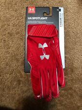New Men's Ua Spotlight Nfl Red Football Receiver Gloves Sz Sm Small 1326218-600