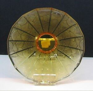 """$3300 Lalique China Mood Amber Crystal 12.8""""w Fan Bowl 5 lbs new in box 10015900"""