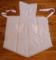 Authentic Vintage French White MAID APRON Crocheted Cotton Lace Openwork Pockets