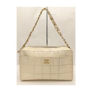 CHANEL Hand Bag ChocolateBar Chain Black Patent Leather 2202049