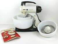 Vintage Sunbeam Automatic Mix Master with bowls and juicer works Free Shipping