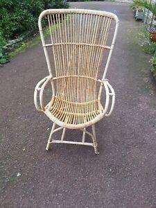 Vintage Retro Boho Tiki Bamboo Cane Rattan Wicker Arm bentwood Chair