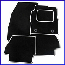 AUDI A1 (2010 ON) Tailored Black + WHITE TRIM Car Floor Mats CarpetS + Clips