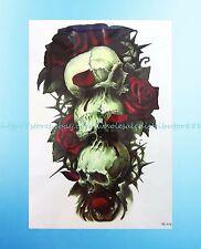 "waterproof fake sugar skull death rose 8.25""extra large temporary arm tattoos"