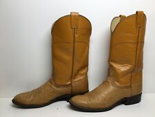 Mens Nocona Cowboy Smooth Ostrich Light Brown Boots Size 10 B