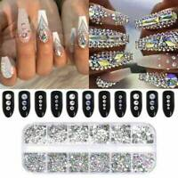 12 Grid Crystal Rhinestone 3D Glitter Jewelry Glass Diamond Gems Nail Art Decors