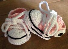 Patucos Zapatillas 0/3 Deportiva Bebe Rosa Crochet Hilo Zapato Recién Nacido