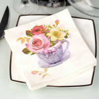 20pcs flower paper napkins food festive party tissue napkins decoupage decor YE
