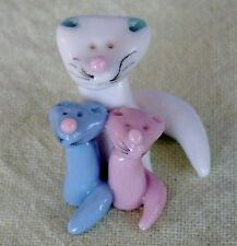 "Miniature Cat Family Figurine Artisan Handcraft+Painted 1"" tall OOAK Mint Cond"