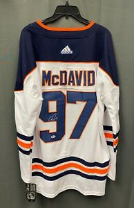 Connor McDavid #97 Signed Oilers Adidas Jersey AUTO Sz 54 BAS Sticker ONLY