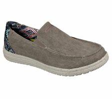 Skechers Brown Shoes Men Canvas Memory Foam Slip On Comfort Loafer Casual 210103