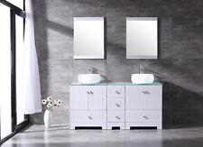 "60"" Bathroom Vanity Cabinet Top Ceramic Vessel Sink w/Faucet Mirror Combo White"