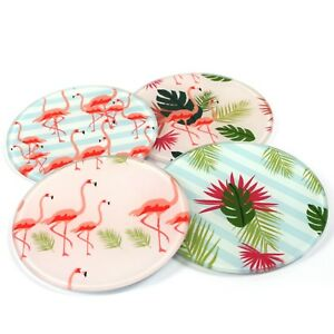 Set of 4 Flamingo Design Glass Coasters  Drink Table Mat Bar Drinks 142-688
