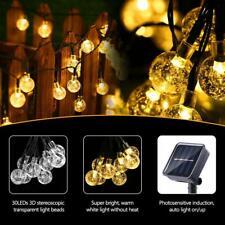 Solar Powered LED String Lights Crystal Ball Outdoor Waterproof Garden Decor USA