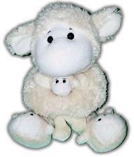 "12"" ANIMAL ADVENTURE LAMB HOLDING BABY WITH SLIPPERS WHITE YELLOW PLUSH 42-1"