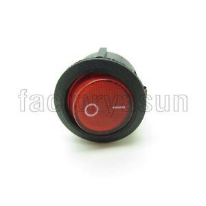 5PCS Round Red Rocker Switch SPST 20mm 0.79' With Neon Light Indicator 250V
