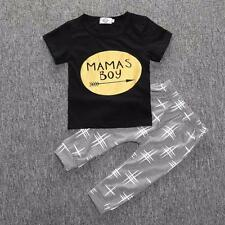 Newborn Toddler Infant Kids Baby Boy Clothes T-shirt Tops+Pants Outfits Set 90