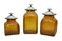 Set of 3, Mexican Amber Decorative Glass Canister Set with Metal Lids