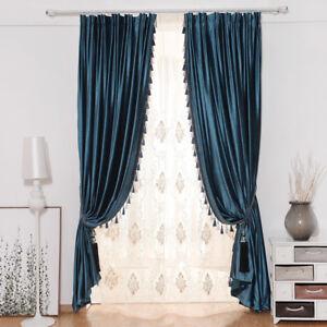thicken luxury European solid blue Italian velvet cloth blackout curtain N234*