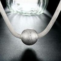 ASAMO Damen Halskette mit großer Kugel Anhänger 925 Sterling Silber plattiert