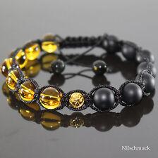 Herren Yellow Crystal Edelstein Styl  Matt Onyx Shamballa Armband für Männer