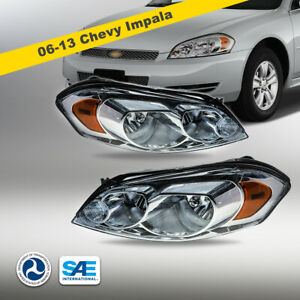 2006-2013 Chevy Impala Headlights Headlamps Pair Chrome Replacement Clear Lens