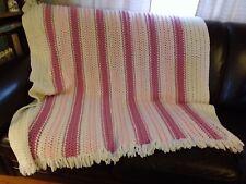 "Afghan  White Dark & Light Pink Stripes 64"" X 59"""